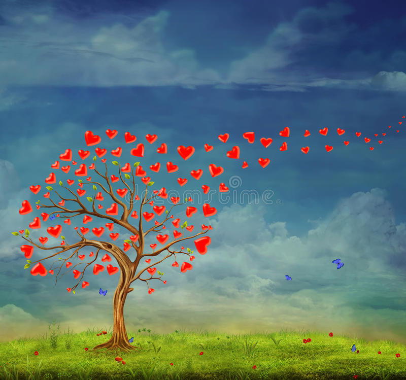 Tree of love. Tree of hearts, valentines day background, illustration stock illustration