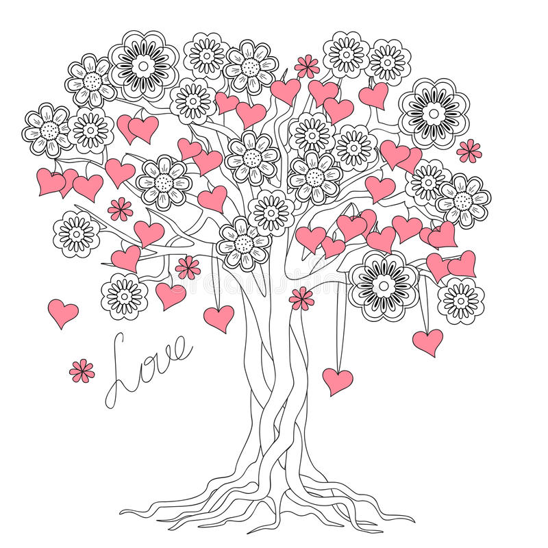 Tree of love with roots and flowers royalty free illustration