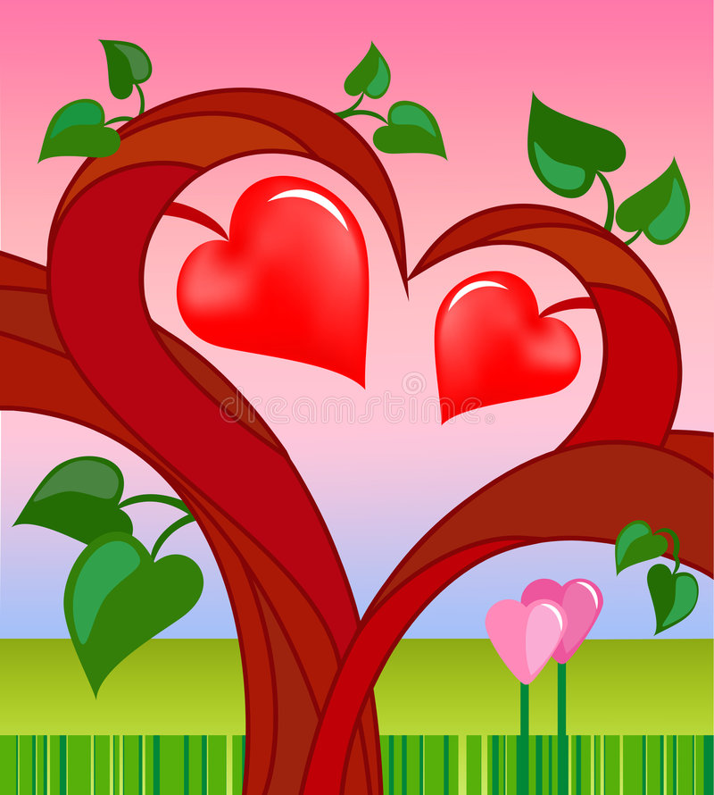 Download Tree Of Love With Two Hearts Stock Vector - Image: 3978350