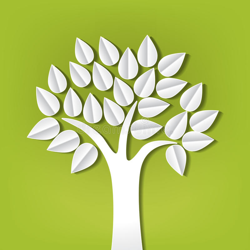 Tree made of paper cut out. Tree on green made of paper cut out