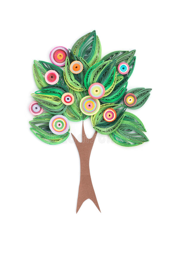 Tree made in quilling art royalty free stock image