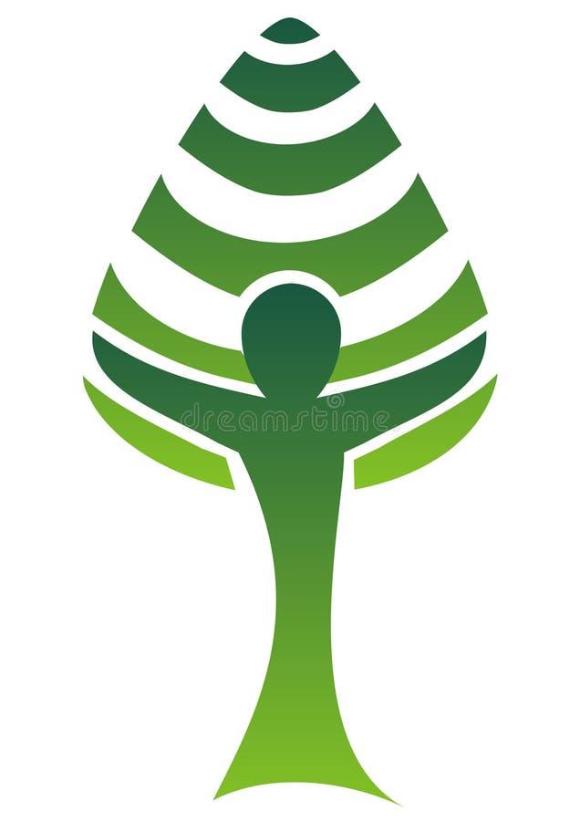 Tree-man logo stock illustration