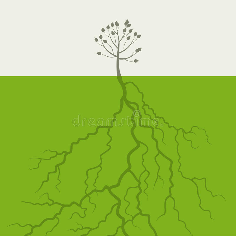 Tree med en rota stock illustrationer