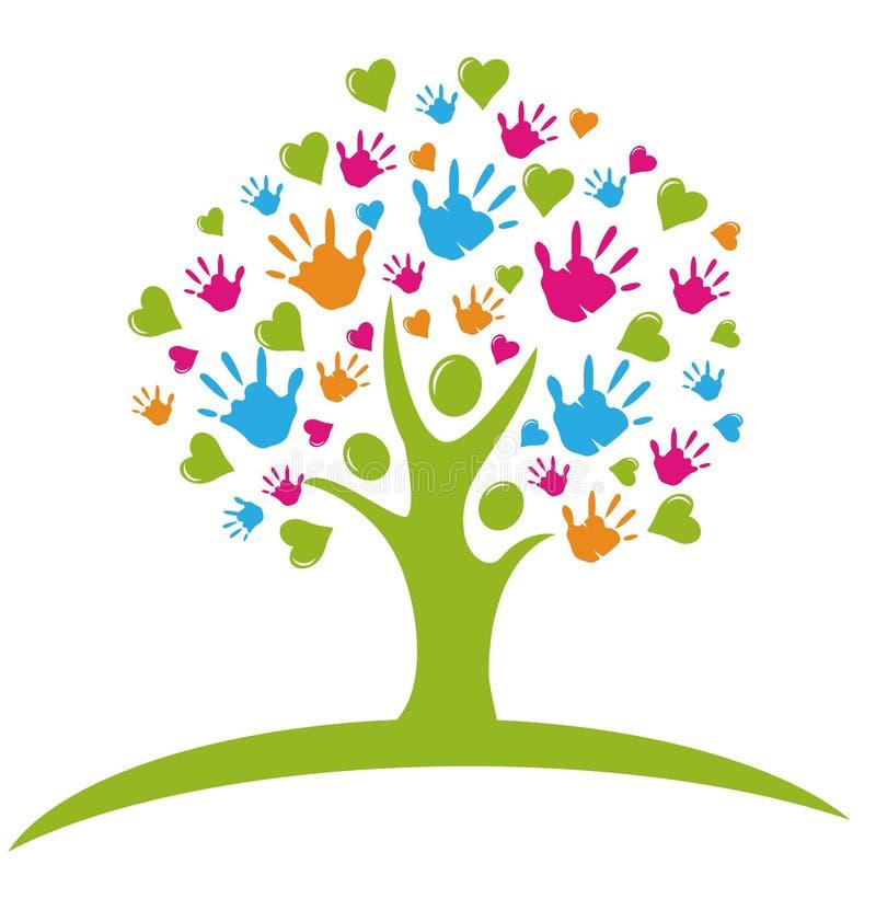 Tree med händer och hjärtor royaltyfri illustrationer