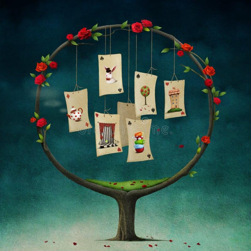 Tree med kort royaltyfri illustrationer