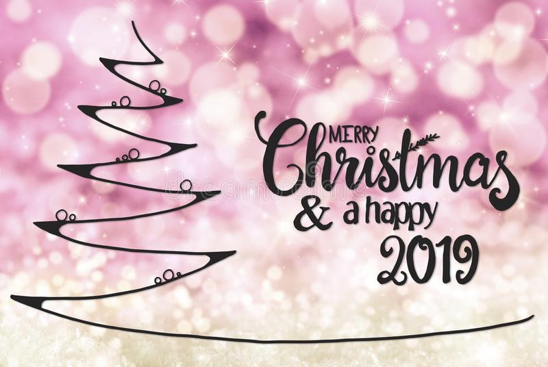 Tree, Merry Christmas And A Happy 2019, Light Purple Background vector illustration
