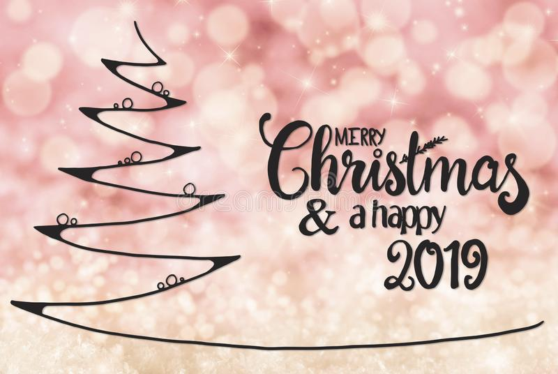 Tree, Merry Christmas And A Happy 2019, Pink Bokeh Background stock illustration