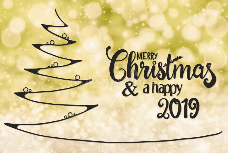 Tree, Merry Christmas And A Happy 2019, Yellow Background stock illustration