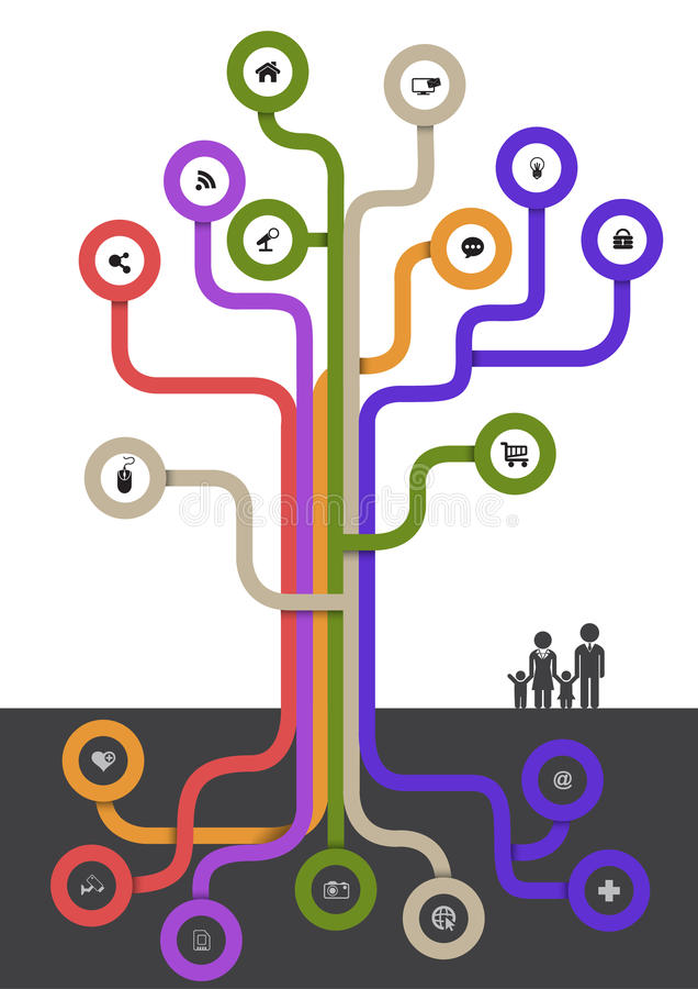 Tree modern line with icons. Can use for brochure and business project background stock illustration