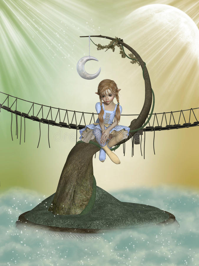 Tree moon royalty free illustration