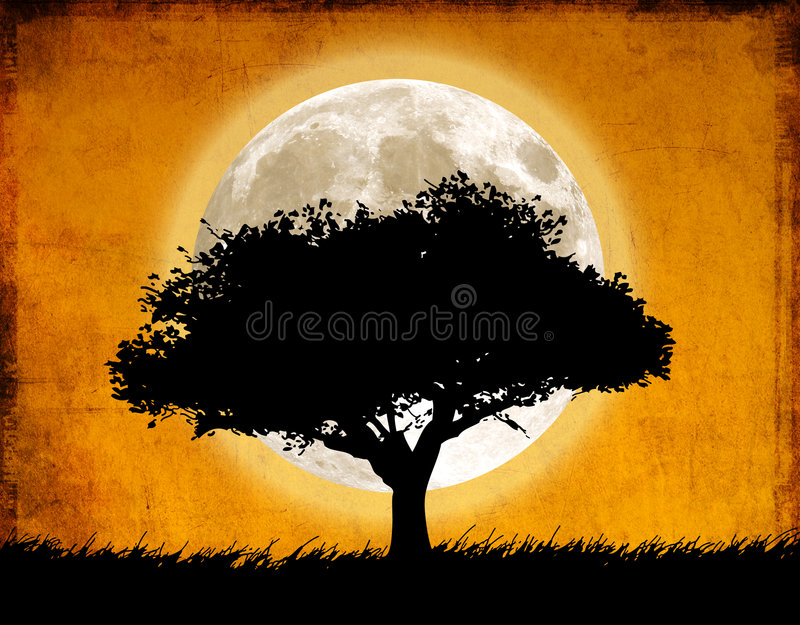 Download Tree and moon stock illustration. Image of dirty, scratched - 6503382