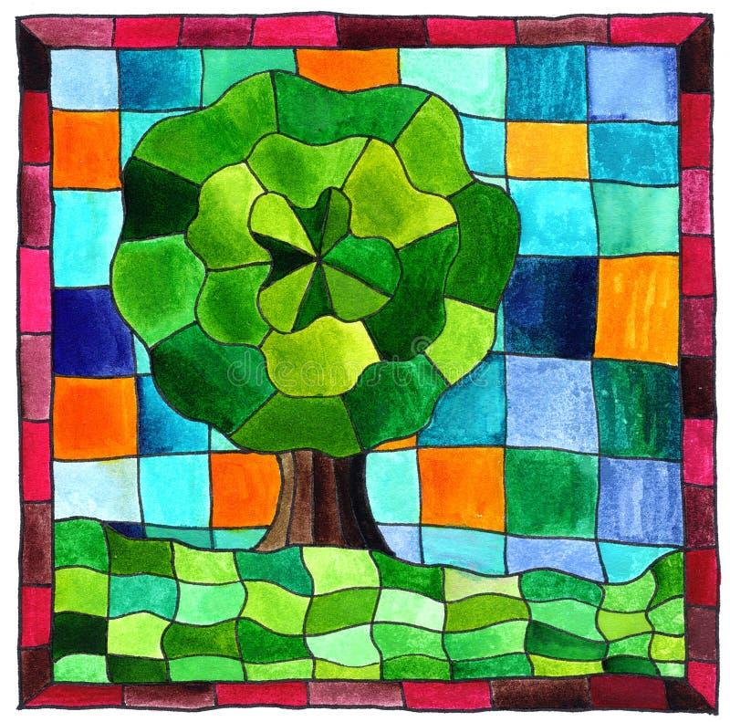 Tree mosaic stock illustration