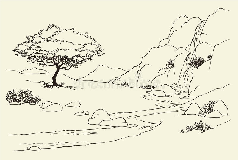 Tree near a mountain stream in the meadow royalty free illustration