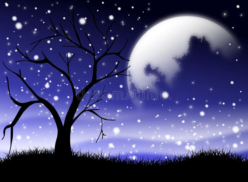 Tree At Night Stock Illustration. Illustration Of People