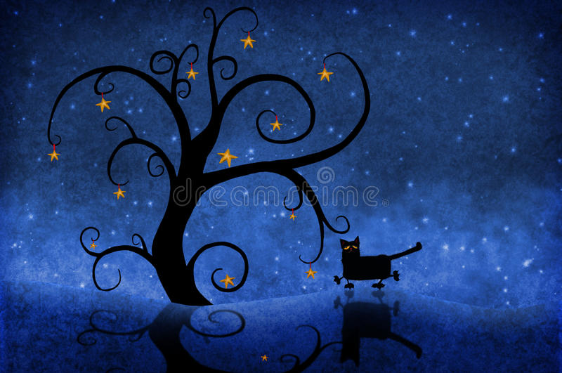 Tree at night with stars and a cat vector illustration