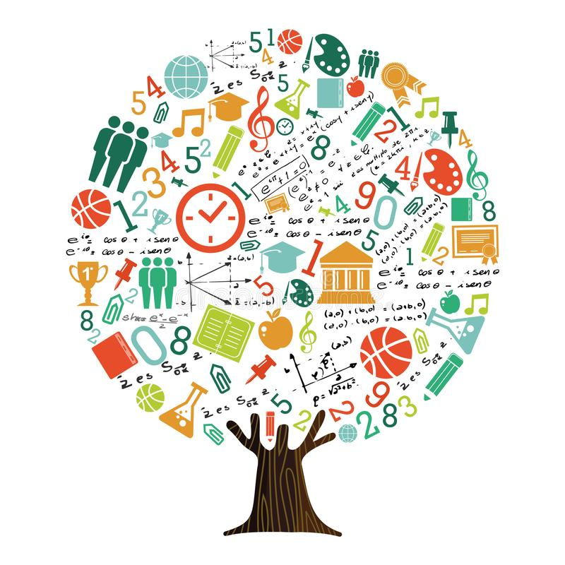 Free Tree Of School Subject Icons For Education Concept Royalty Free Stock Image - 119907606