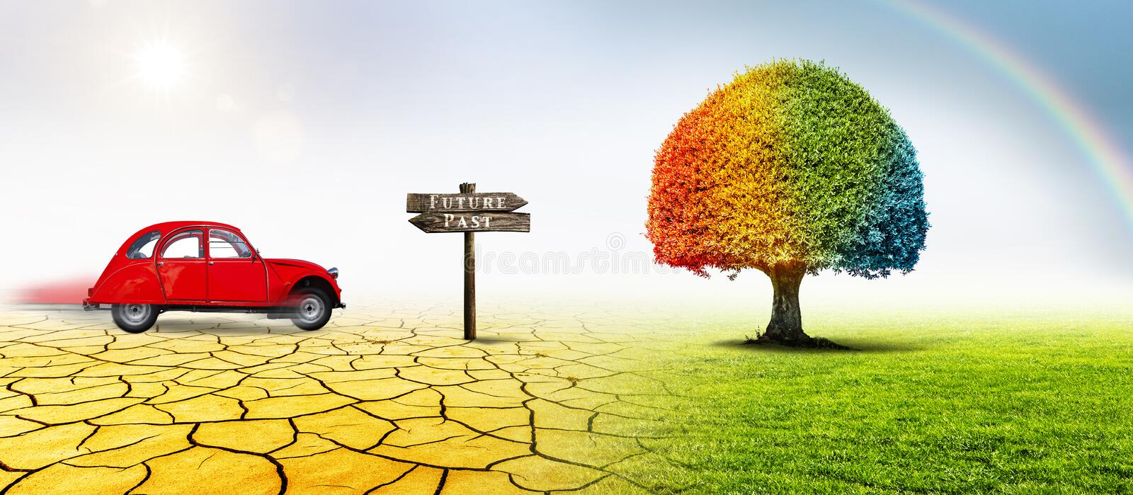 Tree and old vehicle with sign stock image