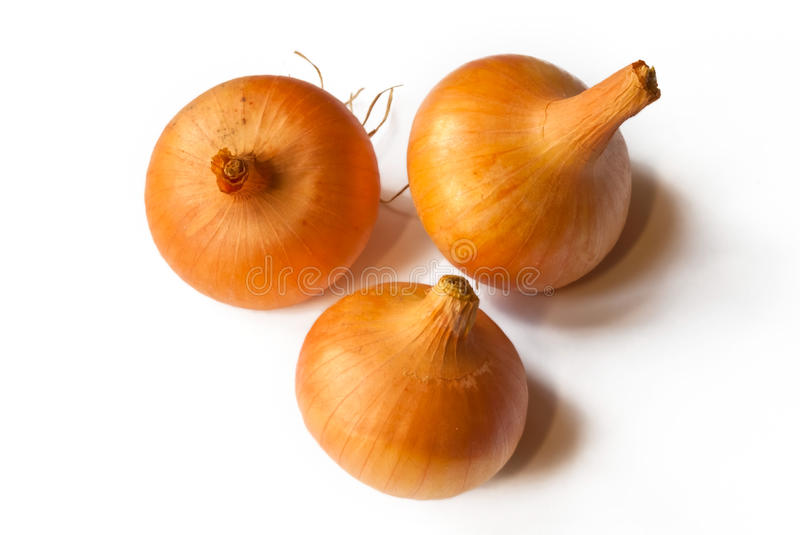 Tree onoins. Three ripe onions isolated on white stock image