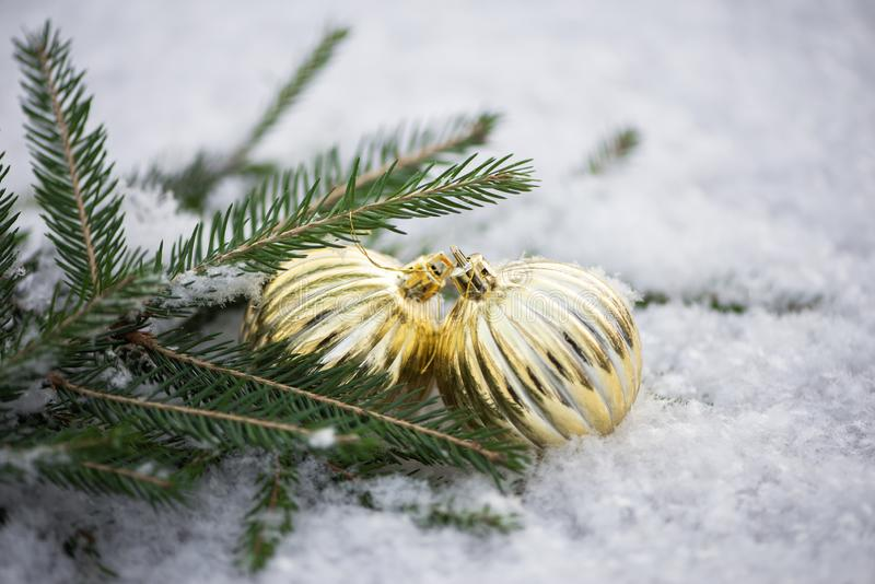 Tree ornaments in the snow royalty free stock images