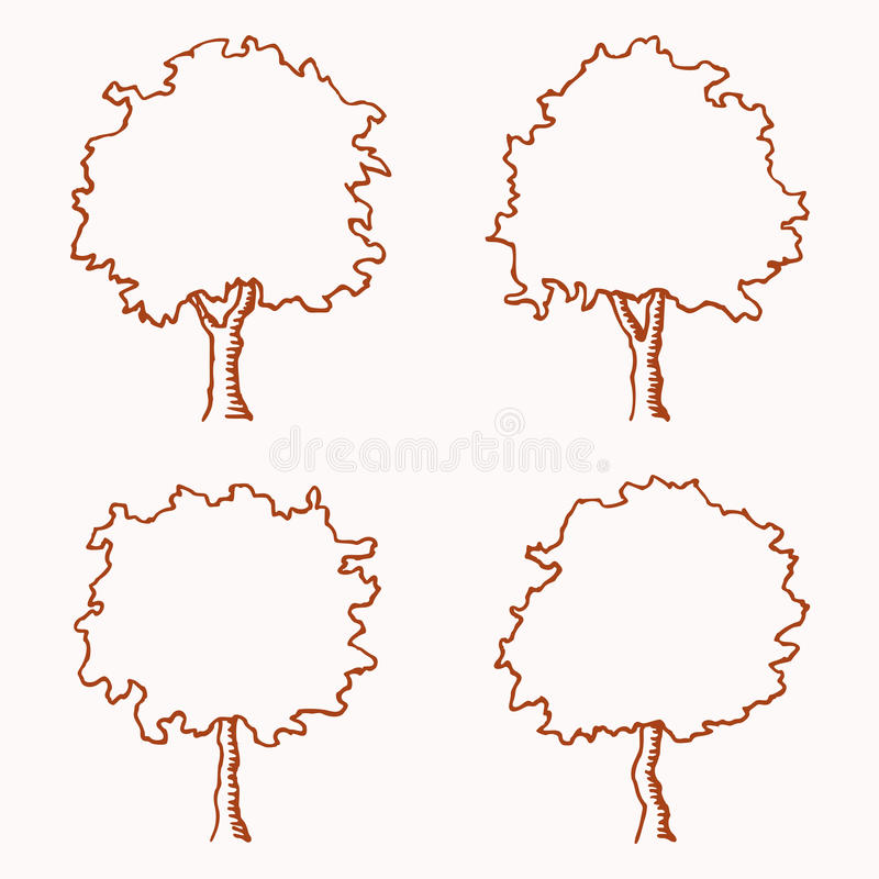 Tree Outline stock vector Illustration of drawing treetop 32952534