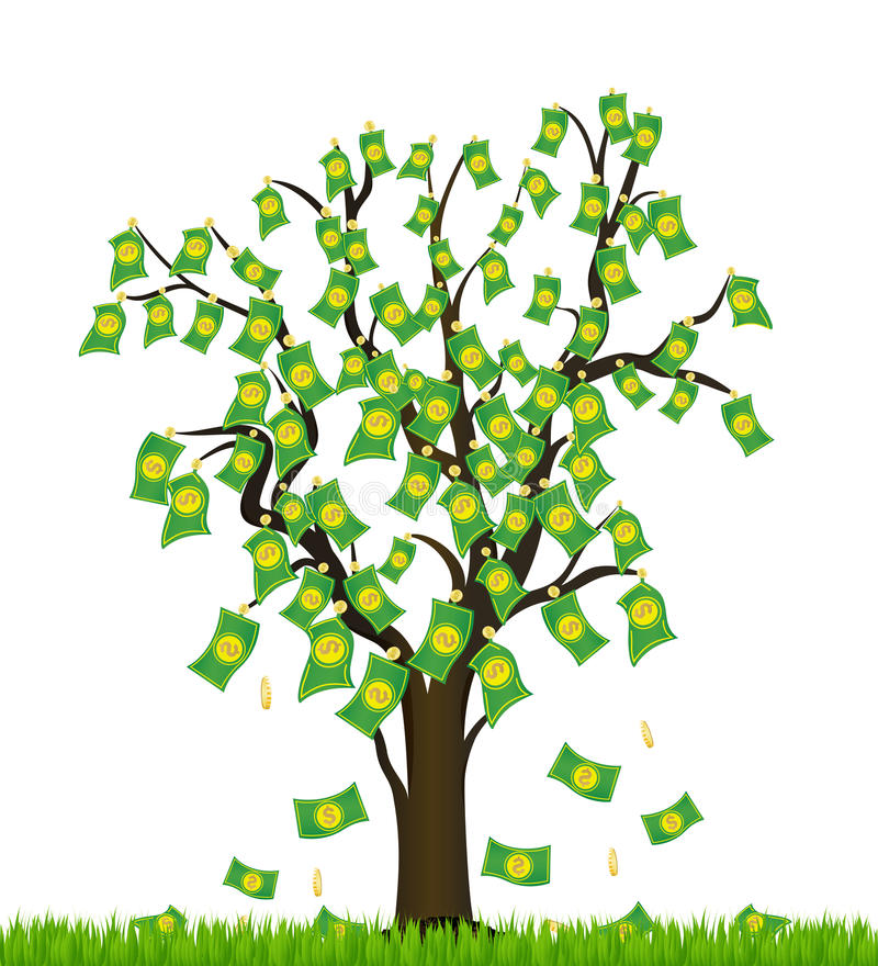 Tree overgrown with money. Business success vector illustration