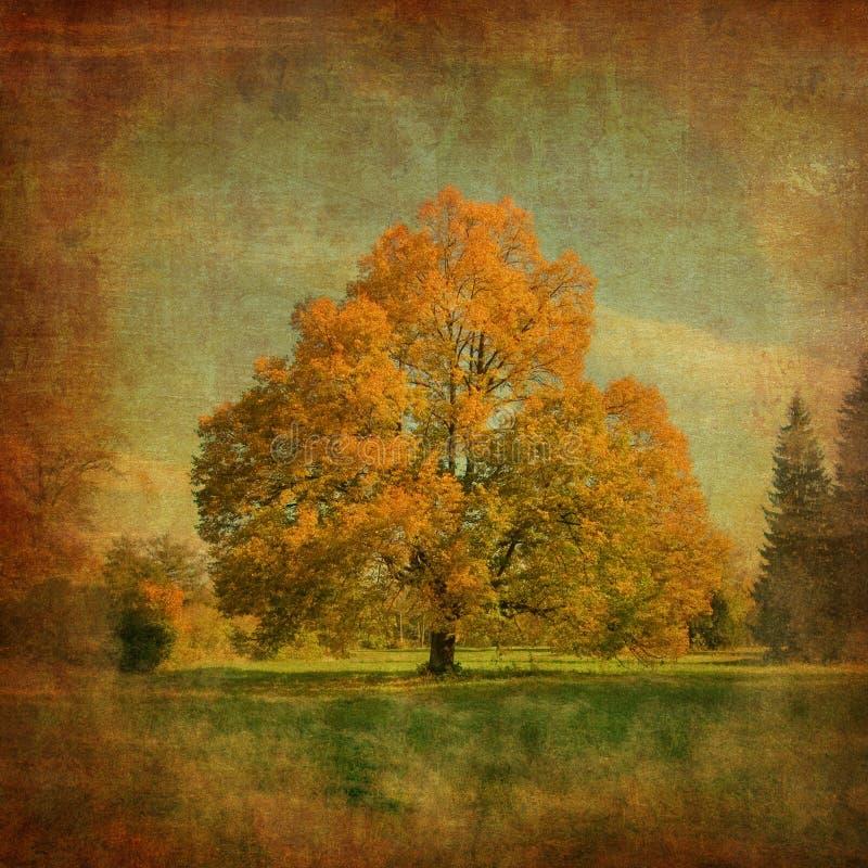 Tree på ett tappningpapper royaltyfri illustrationer