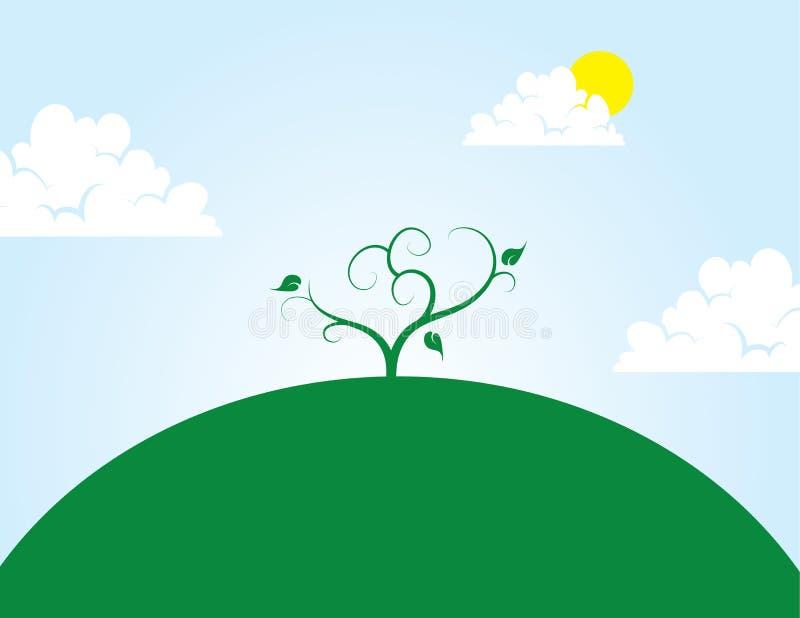 Tree på kullen stock illustrationer