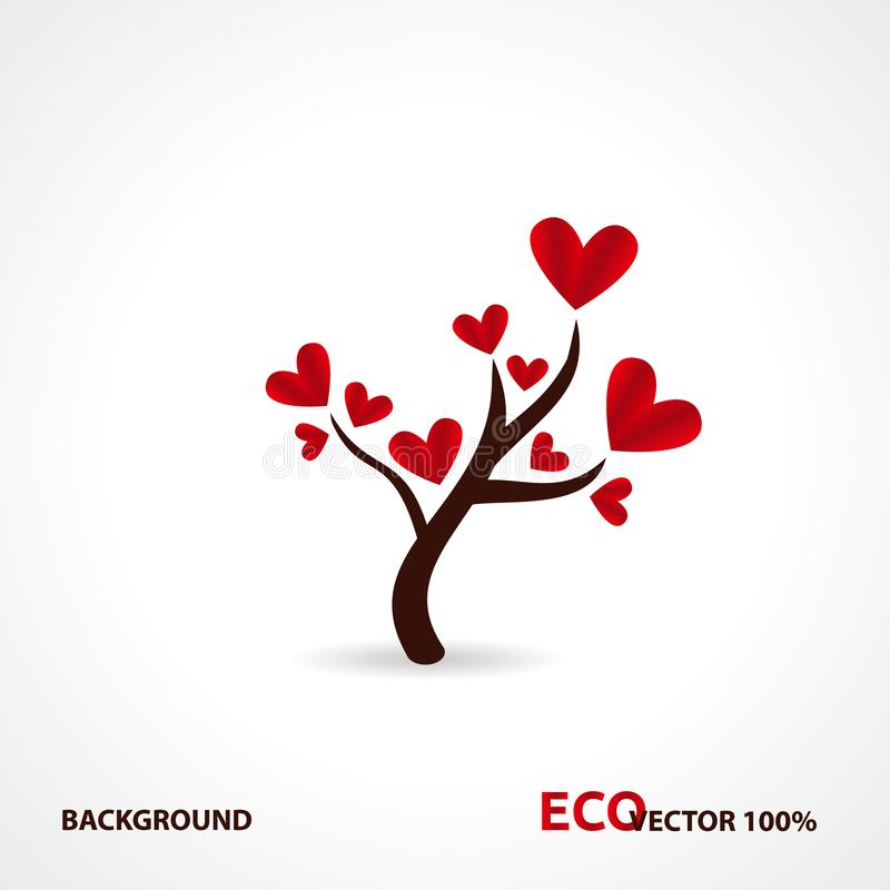 Tree with paper leaves and hanging hearts. Love tree with heart leaves stock illustration