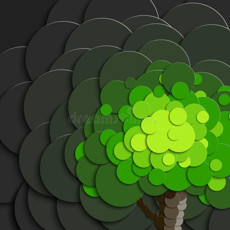 Tree in paper style on a background of gray polluted air. The poster for the ecological slogan vector illustration