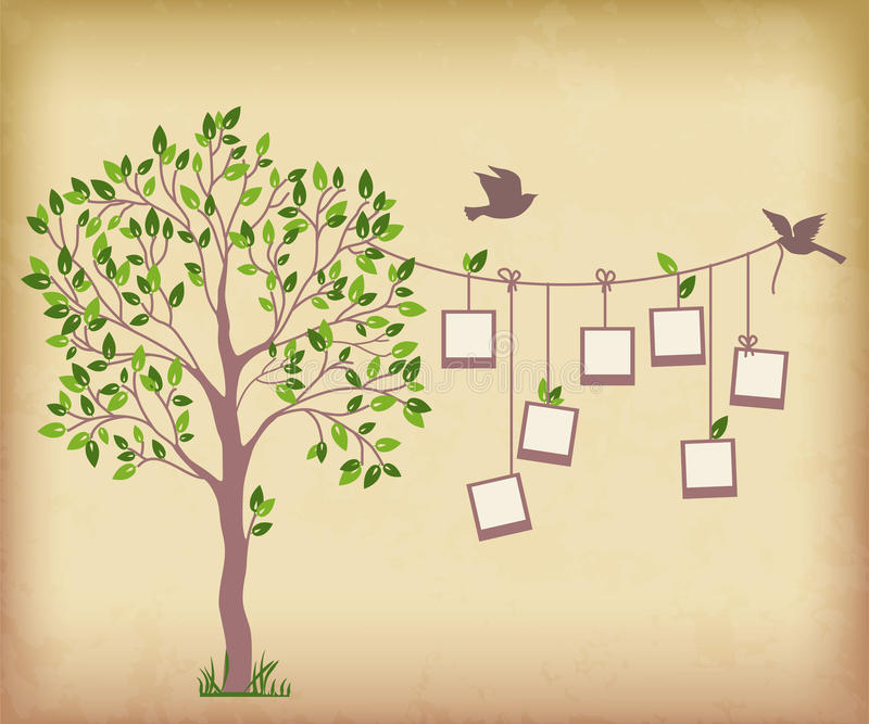 Tree and photos. Memories tree with photo frames. Insert your photos into frames stock illustration