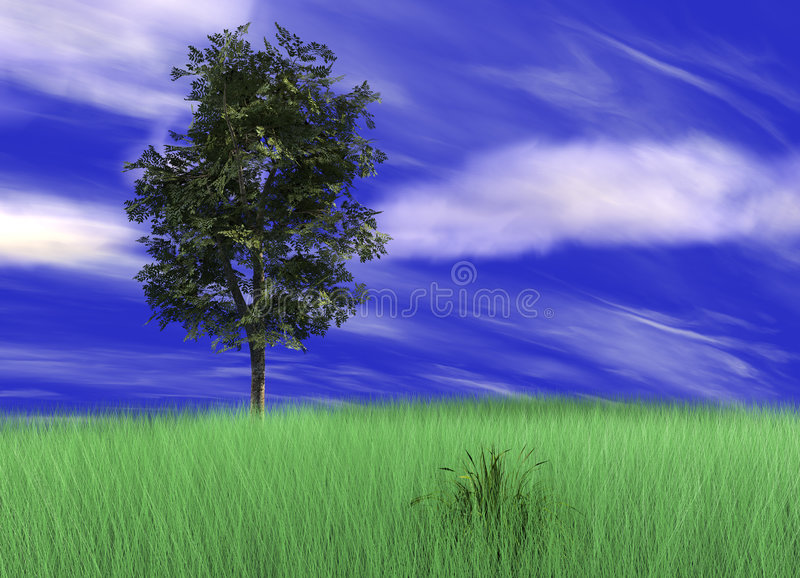 Tree in picturesque landscape vector illustration