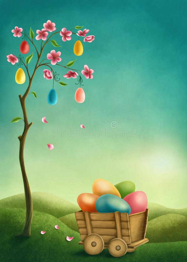 Tree with pink flowers and colorful Easter eggs royalty free illustration