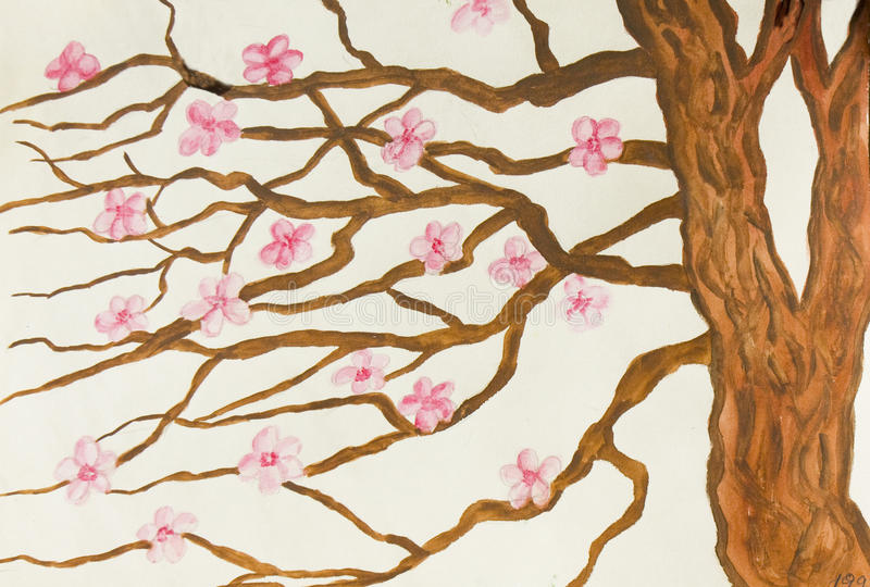 Tree with pink flowers, painting royalty free illustration