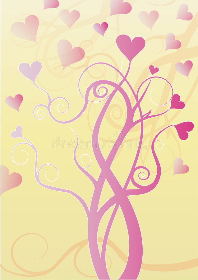 Download Tree  With Pink Hearts On Tips Of Branches Royalty Free Stock Photos - Image: 7856598