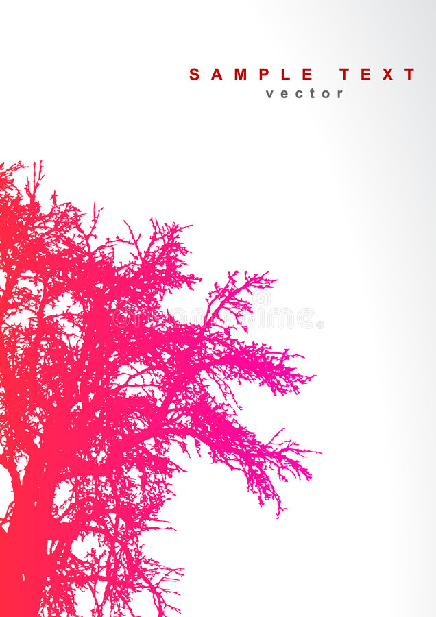 Tree with place for text. stock illustration
