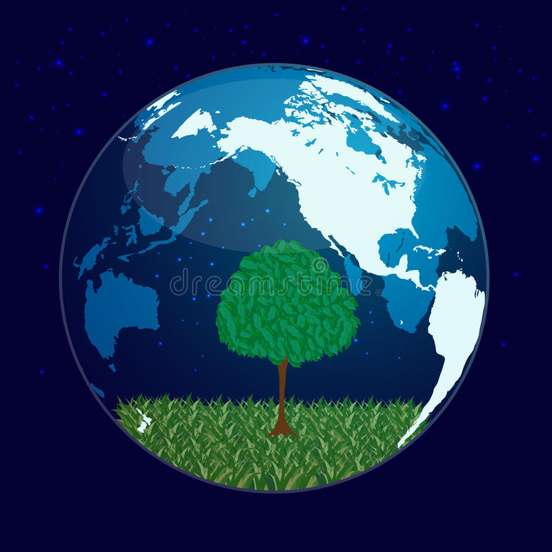 Tree and planet stock illustration