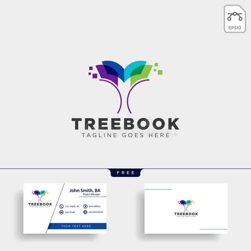 Tree, plant and flower book education line logo template vector illustration icon element. Vector file royalty free stock photography