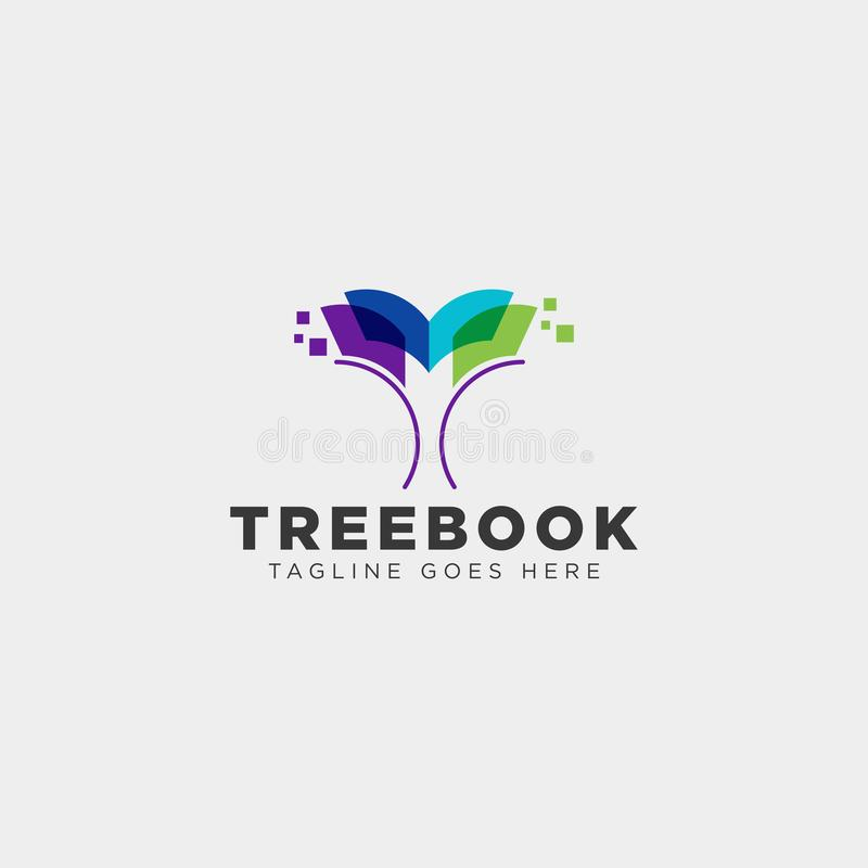 Tree, plant and flower book education line logo template vector illustration icon element. Vector file stock images