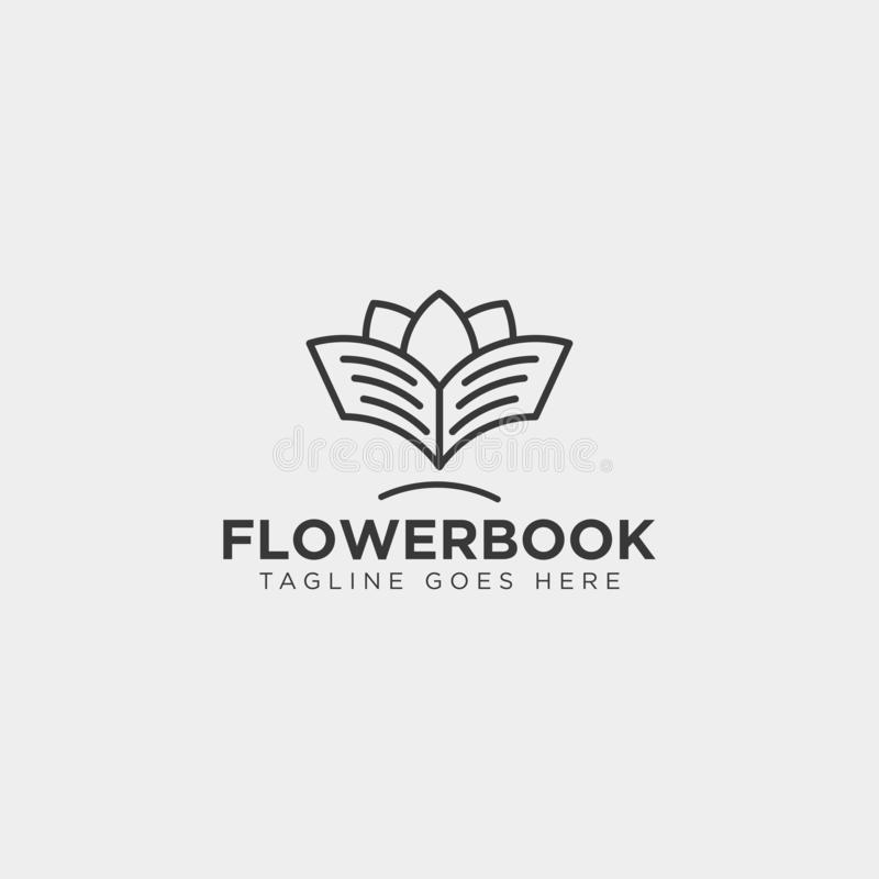Tree, plant and flower book education line logo template vector illustration icon element. Vector file royalty free stock image
