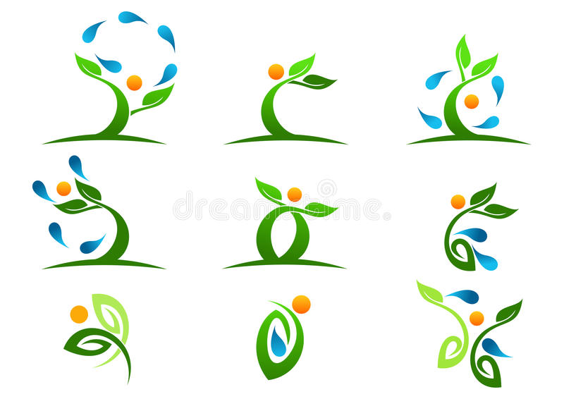 Tree,plant,people,water,natural,logo,health,sun,leaf,ecology,symbol icon design vector set royalty free illustration