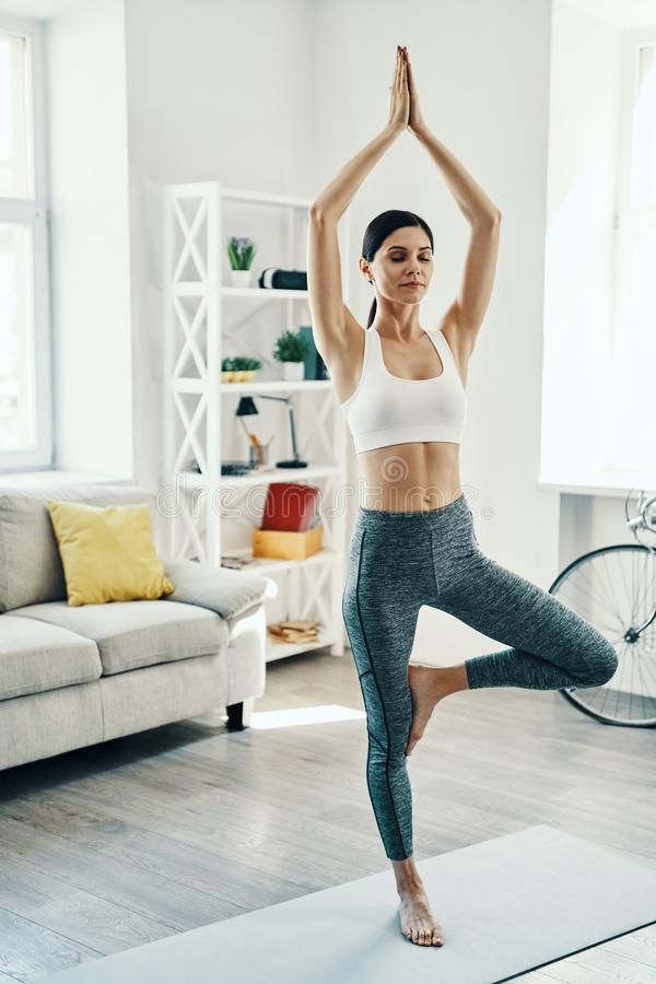 Tree pose. royalty free stock images