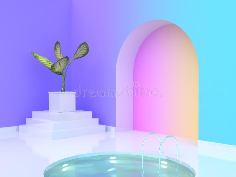 3d rendering tree pot abstract arched door water pool violet-purple blue yellow pink gradient wall-room. Tree pot abstract arched door water pool violet-purple vector illustration