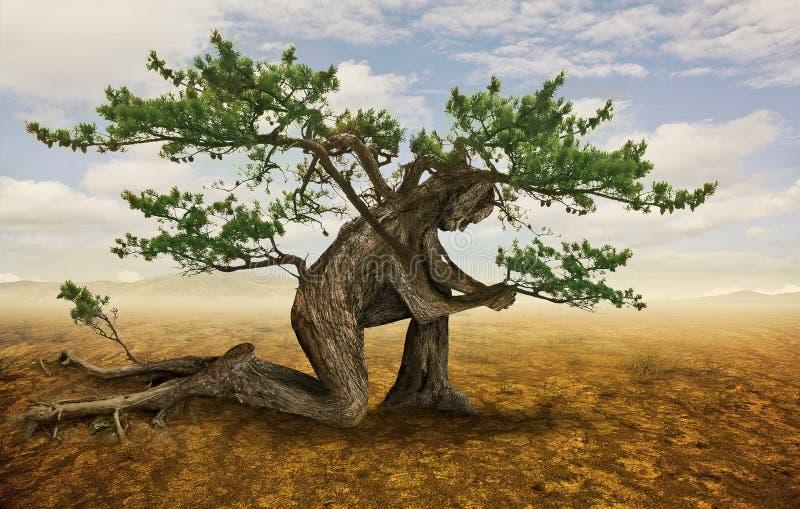 Tree in prayer stock illustration