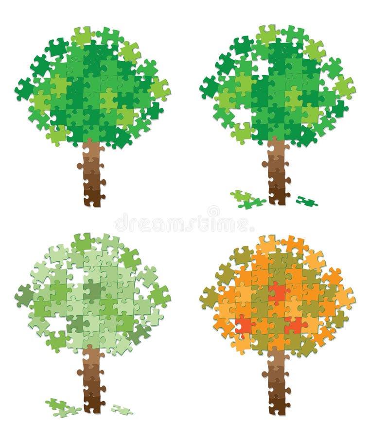 Download Tree puzzle set stock vector. Image of cartoon, decorative - 24055777