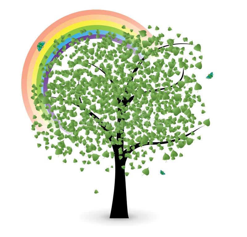 Tree with rainbow stock illustration