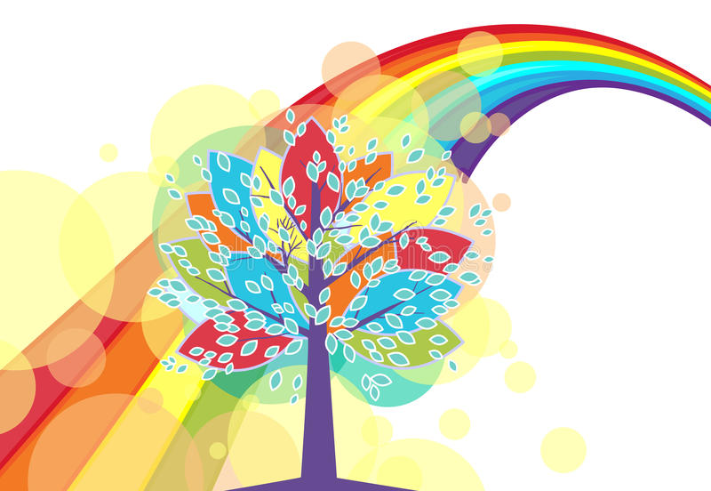 A tree with a rainbow stock illustration
