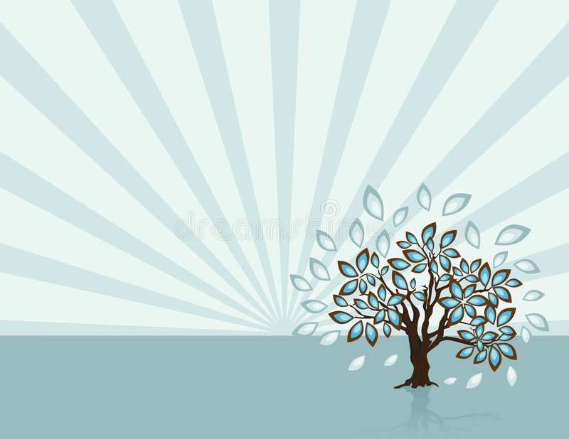 Tree with Rays at Spring Time vector illustration
