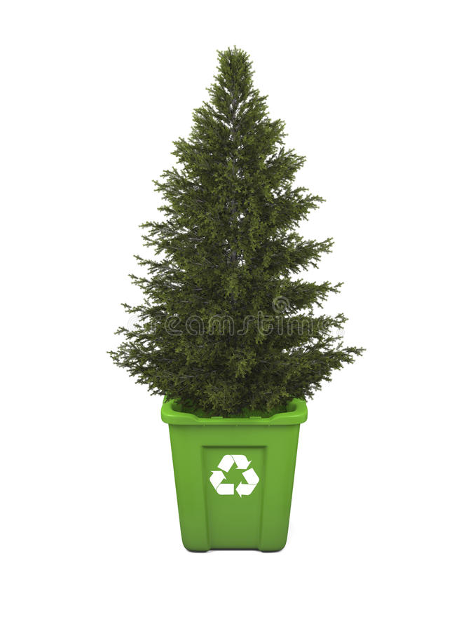 Tree in recycle bin royalty free illustration