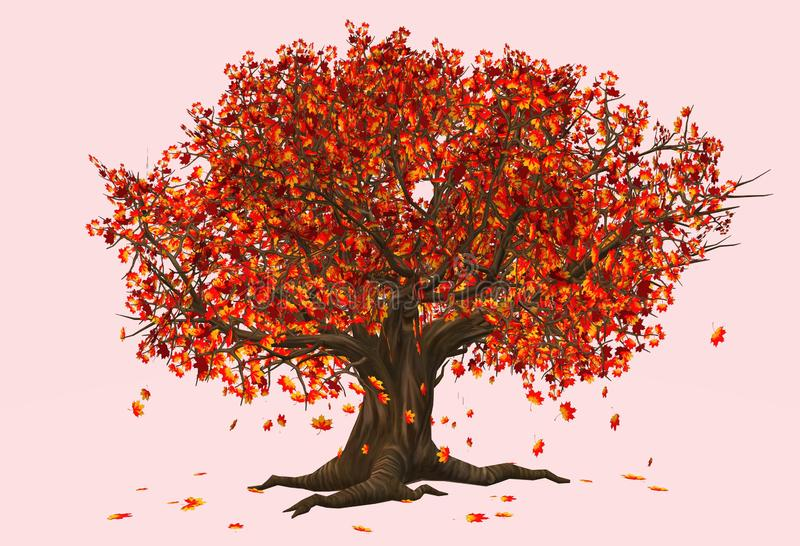 A tree with red brown leaves as in the season of fall autumn. A computer generated illustration image of a tree with red brown leaves as in the season of fall stock illustration