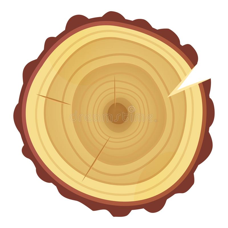 Tree ring icon, timber texture and industry stock illustration